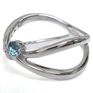 ブルートパーズ リング V字 K18 リング 指輪 ピンキーリング5Rj43AL