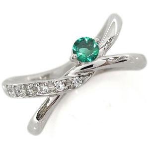 エメラルド リング V字 K18 リング 指輪 ピンキーリング
