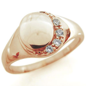 ダイヤモンド・印台・レディース・ムーン・リング・ピンキーリング・18金 母の日 プレゼント