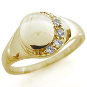 レディース 月 印台 ダイヤモンド リング ピンキーリング K10 母の日 プレゼント
