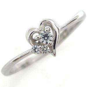 【10%OFF】4日20時~ ダイヤモンド・プラチナ・ハート・リング・指輪・華奢・リング