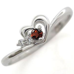 ガーネット ハート リング 18金 ハートモチーフ 指輪