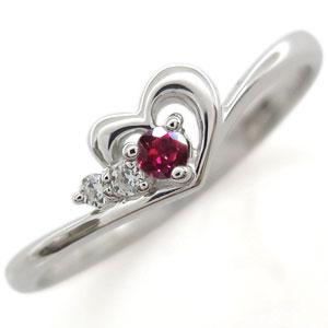 プラチナ ルビー リング ハート 指輪