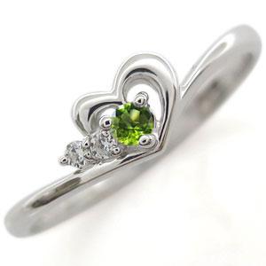 プラチナ ペリドット リング ハート 指輪