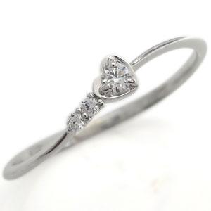 プラチナ ダイヤモンド 指輪 ハートモチーフ リング ファランジリング