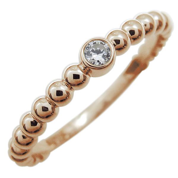 9/11 1:59迄ピンキーリング ダイヤモンド リング ボールリング 4月誕生石 18金 指輪