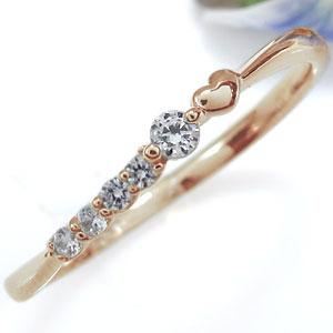 ファランジリング ダイヤモンド 18金 華奢 ハート リング 指輪