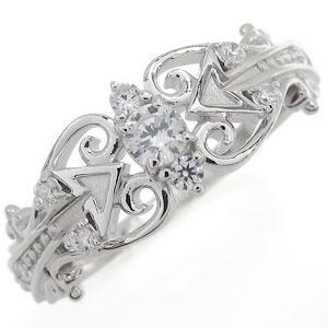 プラチナ リング ダイヤモンド リング キューピット 矢 指輪