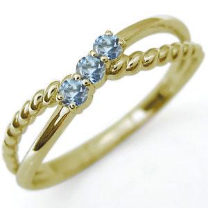 K18 アクアマリンサンタマリア リング ロープ 縄 指輪 ピンキーリング ミディリング