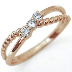 ダイヤモンド リング ピンキーリング 縄 指輪 10金