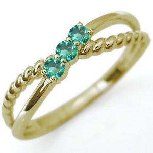 K18 エメラルド リング ロープ 縄 指輪 ピンキーリング ミディリング