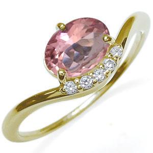 ピンクトルマリン 指輪 大粒 一粒 k18 ピンクトルマリンリング