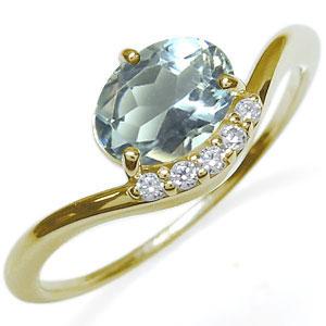 アクアマリン 指輪 大粒 一粒 k18 アクアマリンリング