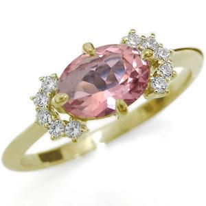 ピンクトルマリンリング・大粒・指輪・オーバルリング・K18