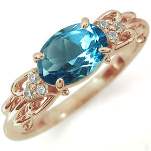 ブルートパーズ リング 10金 指輪
