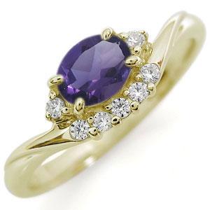送料無料 アメジストリング指輪 超激安特価 大粒 一粒 k18 発売モデル リング K18 アメジスト アメジストリング 指輪