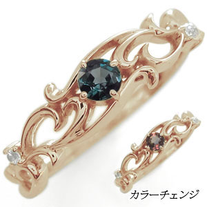 アラベスク・リング・唐草・リング・アレキサンドライト・指輪・K10