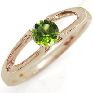 ペリドット・リング・10金・一粒・指輪