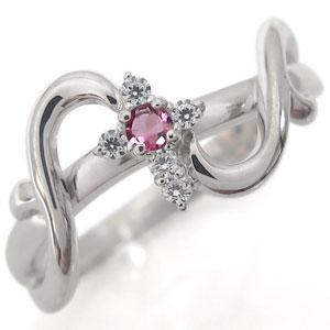 クロス リング プラチナ ピンクトルマリン リング 唐草 指輪