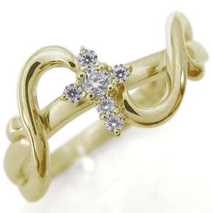 9/11 1:59迄ダイヤモンド リング クロス 10金 アラベスク リング 十字架 指輪