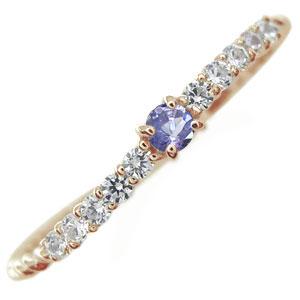 K18 ピンキーリング タンザナイト 指輪 ファランジリング レディース 母の日 プレゼント