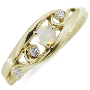 唐草 リング オパール 18金 リング アラベスク リング 指輪