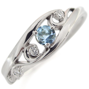 プラチナ アクアマリンサンタマリア エンゲージリング 唐草 婚約指輪 アラベスク リング