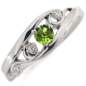 プラチナ ペリドット エンゲージリング 唐草 婚約指輪 アラベスク リング