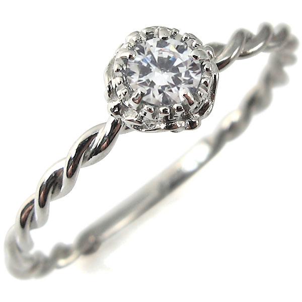 ダイヤモンド・リング・K18ホワイトゴールド・シンプル・指輪・18金