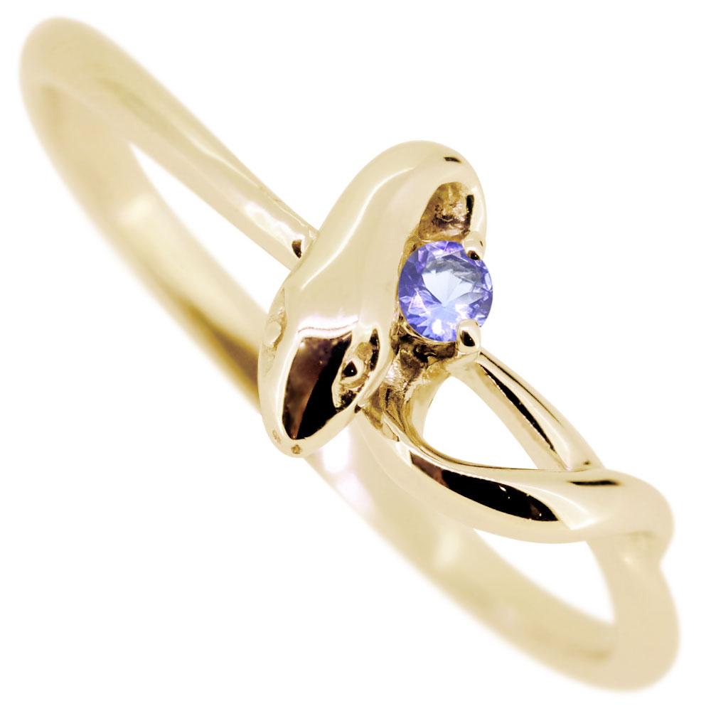 【10%OFF】4日20時~ スネークリング・タンザナイトリング・18金・蛇・指輪
