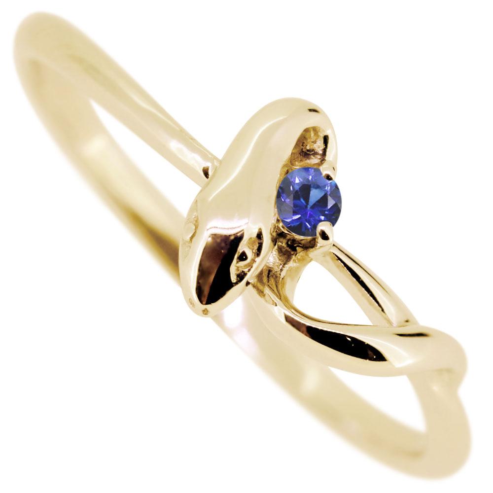 【10%OFF】4日20時~ スネークリング・サファイアリング・18金・蛇・指輪