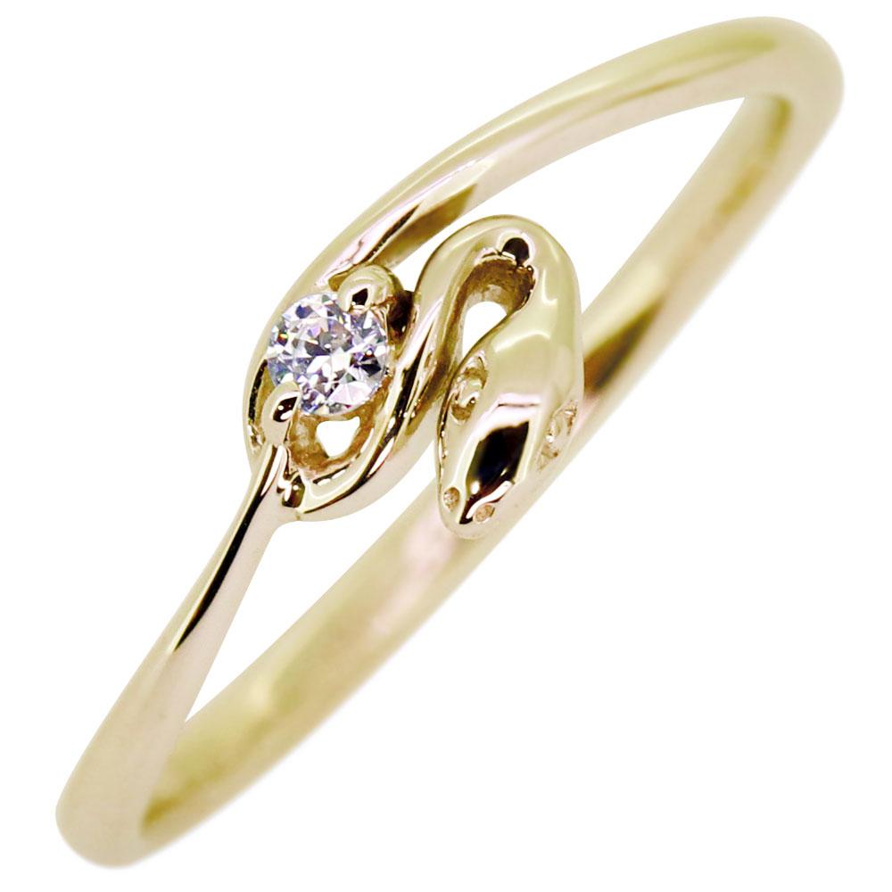 【10%OFF】4日20時~ スネーク・リング・蛇・リング・ダイヤモンド・指輪・18金