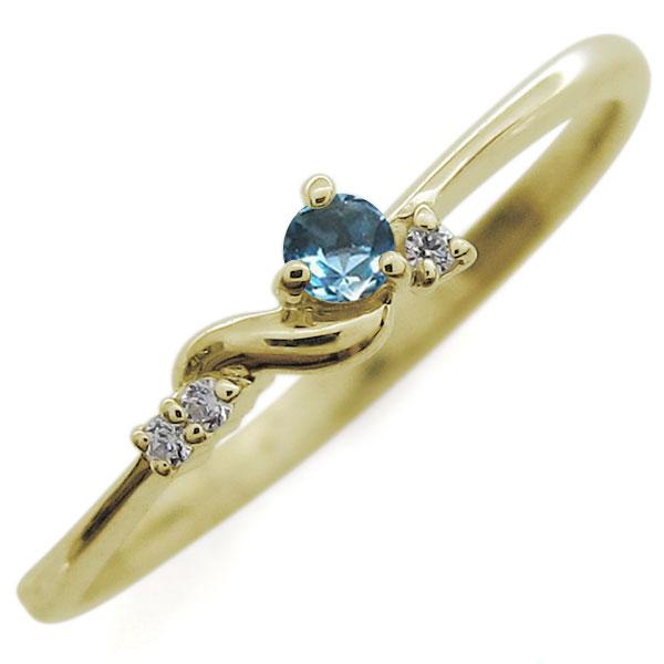 【10%OFF】4日20時~ ブルートパーズ ピンキーリング 18金 指輪 天然石 リング