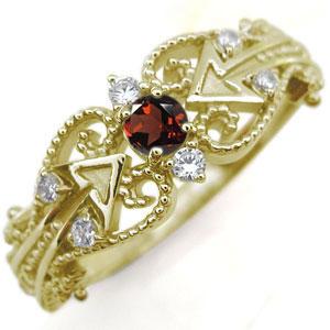 キューピッド リング ガーネット K18 天使の矢 指輪
