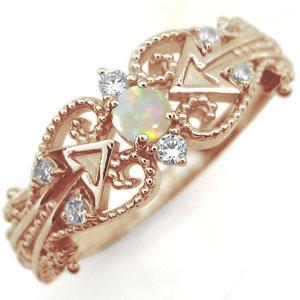 オパール リング 天使の矢 アロー 10金 指輪