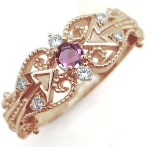ピンクトルマリン リング 天使の矢 アロー 10金 指輪