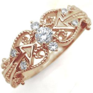 【10%OFFクーポン】5日23:59迄 ダイヤモンド リング 天使の矢 アロー 10金 指輪