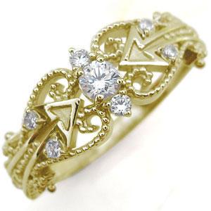 キューピッド リング ダイヤモンド K18 天使の矢 指輪
