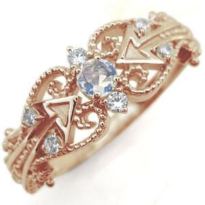 【10%OFF】4日20時~ ロイヤルブルームーンストーン リング 天使の矢 アロー 10金 指輪