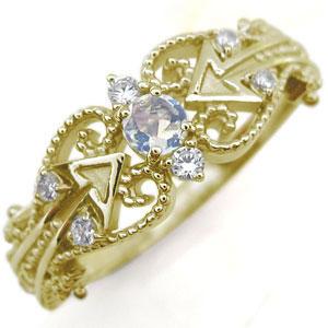 キューピッド リング ロイヤルブルームーンストーン K18 天使の矢 指輪