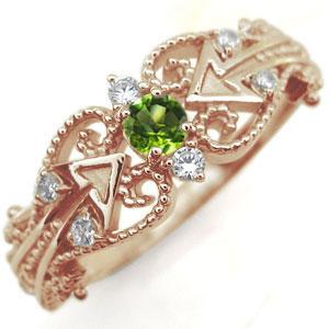ペリドット リング 天使の矢 アロー 10金 指輪
