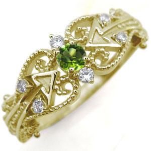 キューピッド リング ペリドット K18 天使の矢 指輪