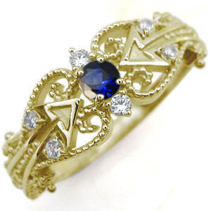 キューピッド リング サファイア K18 天使の矢 指輪