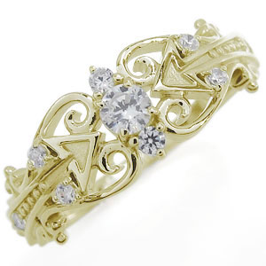 キューピッドの矢 ダイヤモンド リング ベクトル 矢印 指輪 10金