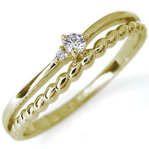 1日限定【10%OFFクーポン&P2倍】 ダイヤモンド 一粒 指輪 18金 リング ピンキーリング