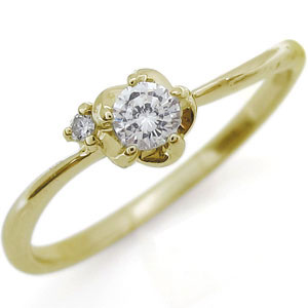 フラワー リング ダイヤモンド K18 花 指輪