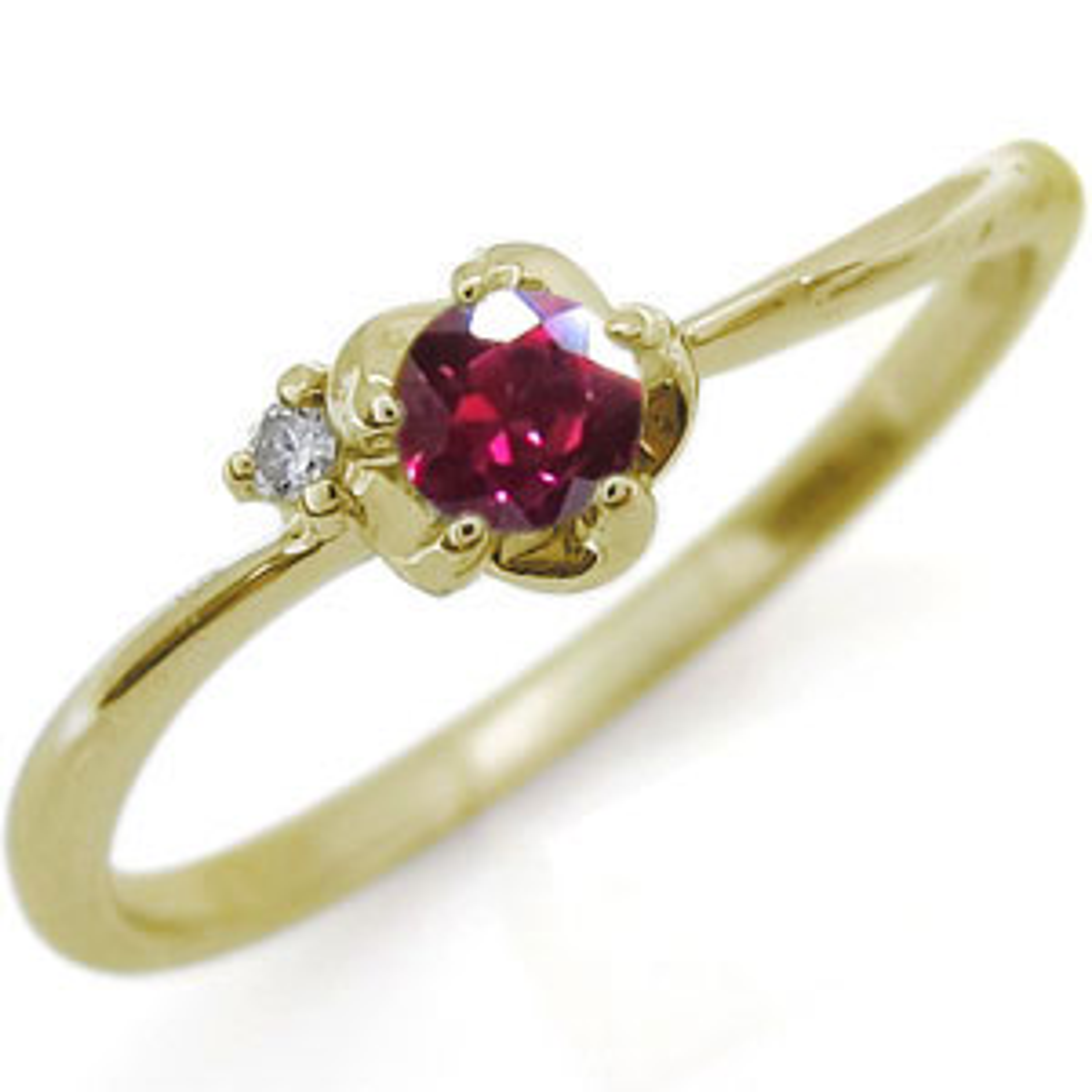 フラワー リング ルビー K18 花 指輪
