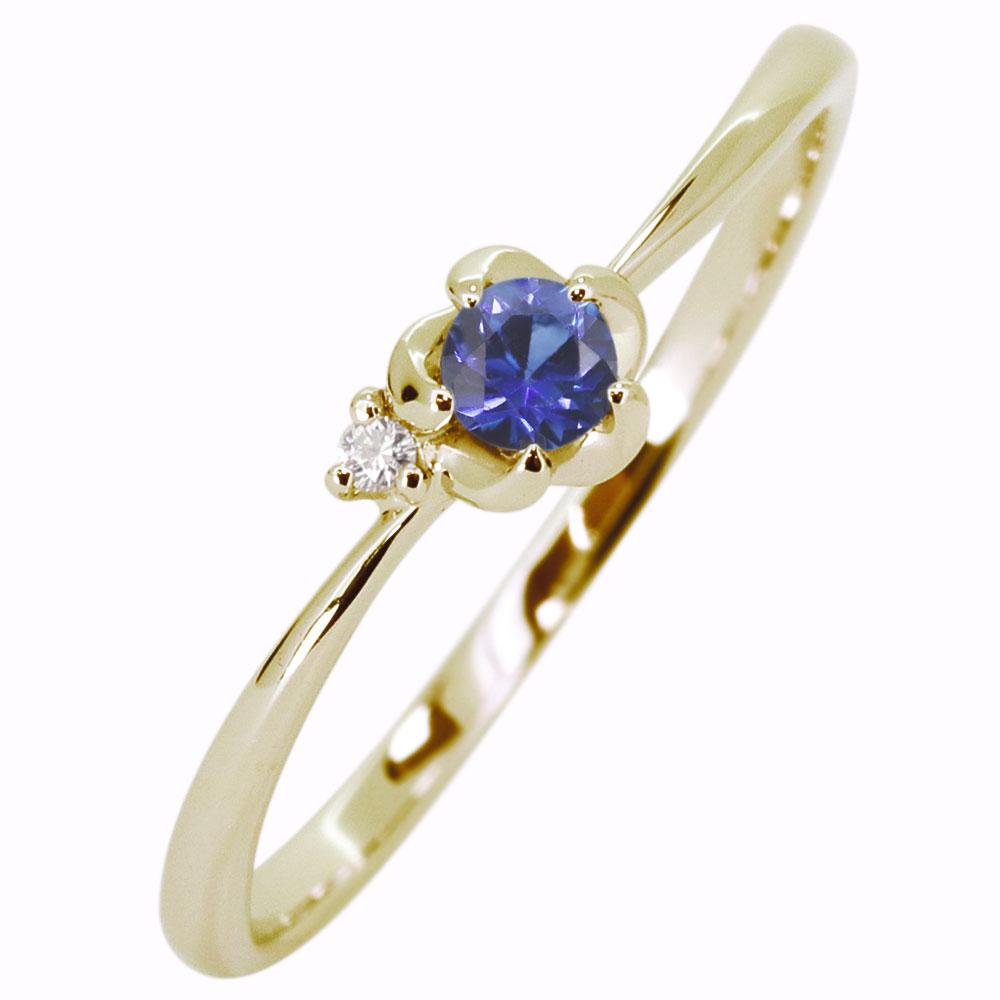 フラワー リング サファイア K18 花 指輪