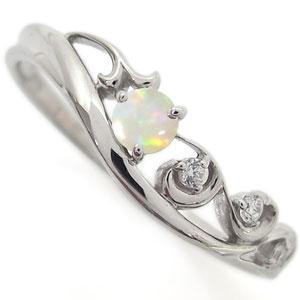 プラチナ オパール エンゲージリング アラベスク 唐草 婚約指輪