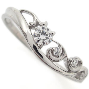 プラチナ ダイヤモンド リング アラベスク 唐草 指輪